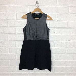 ZARA Black Faux leather and knit dress Small